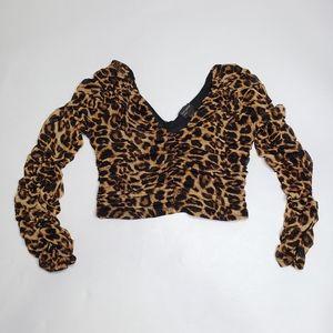 Free press mesh ruched crop top leopard print